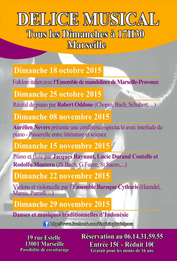Concerts Marseille Octobre et Novembre 2015, F?minin Pluriel