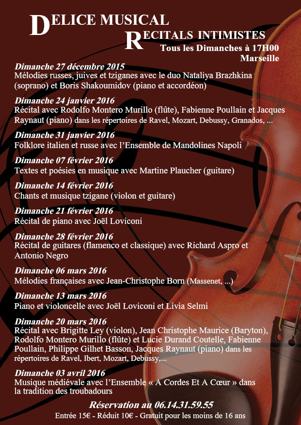 Programmation récitals intimistes 2015/2016 Marseille Féminin Pluriel