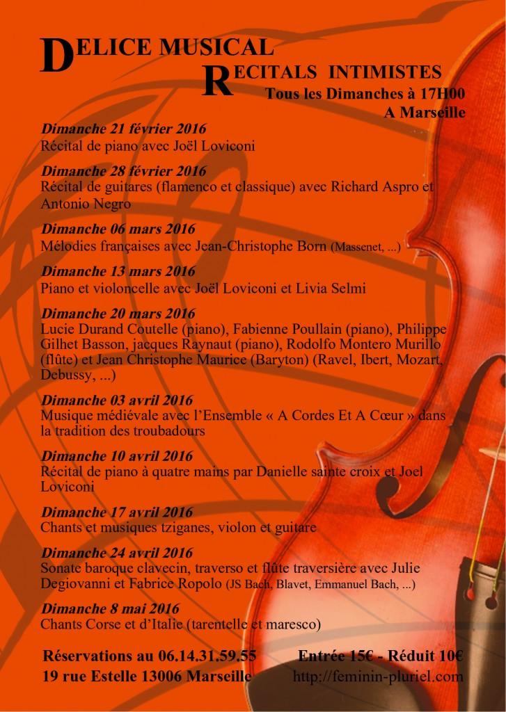 Programmation musicale récitals intimistes 2015/2016 Marseille Féminin Pluriel